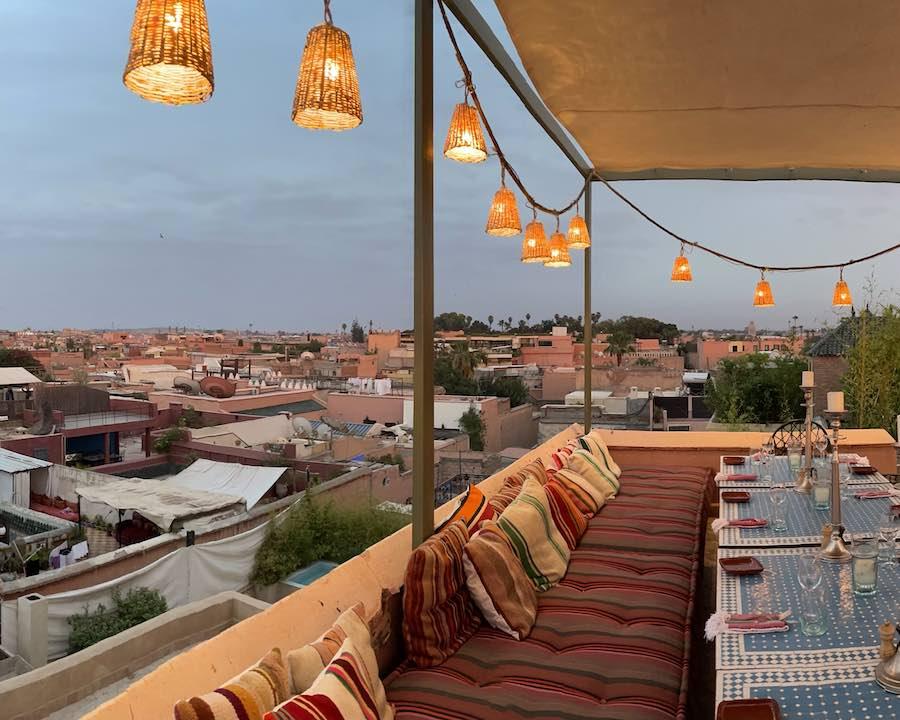 El-Fenn Rooftop patio in Marrakech